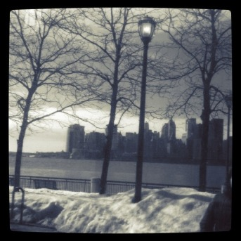 Reflection of a great city : NYC skyline reflection on a glass window #photo# #shotwithiphone
