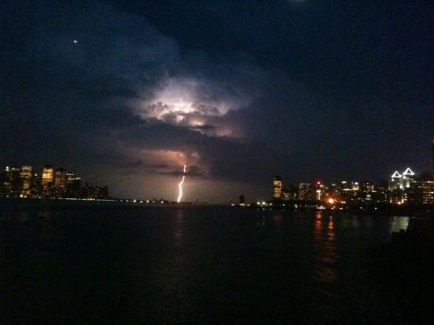 Amazing lightning strike at #NYC captured using iPhone #photography #iphoneography