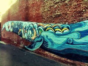 Blue whale on the wall, graphite in historic downtown #iphoneography #photography