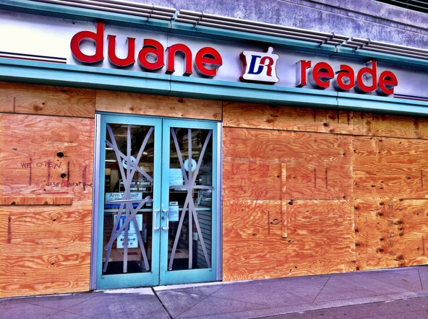 The bandaged pharmacy #iphoneography #photography #jerseycity #hurricane #Irene