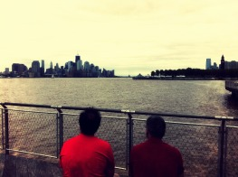 Never forgot, father n son sit on banks of #Hudson across #NYC in #Hoboken remembering #iphoneography #September11 #911