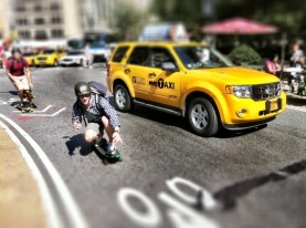 Taking over the streets of NYC, skate boarders parade #NYC #iphoneography #photography #skateboards