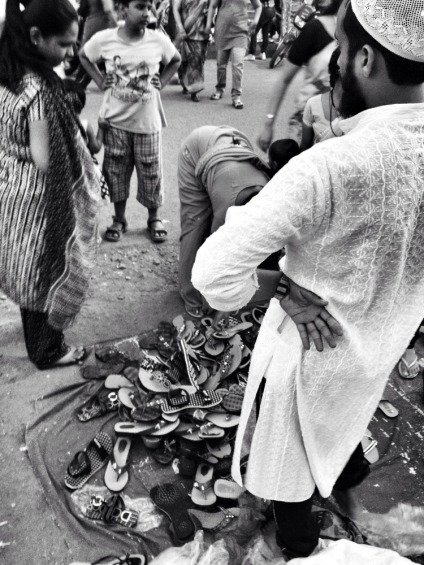 From the perspective of a foot ware salesmen #iphoneography #photography #india #mumbai #streetphotography