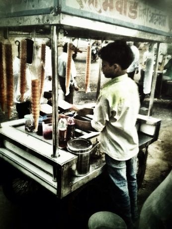 The road side kulfi (natural indian ice cream) stand