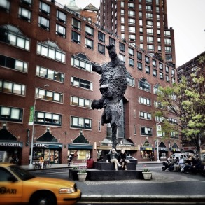 An elephant balanced on its trunk in NYC , Gran Elefandret, Sculpture #iphoneography #photography