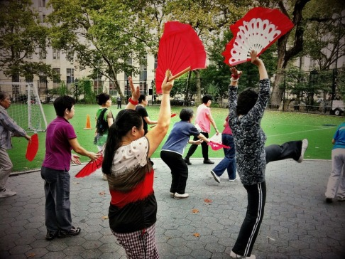 The chinese fan dance in the park #iphoneography #photography #nyc #streetphotography