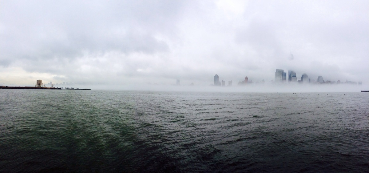 Walk to work with view of a Foggy NYC, Even clouds come down to visit the big apple,  #iphoneography #photography#NYC